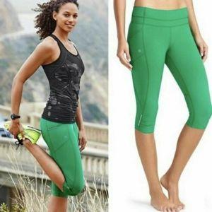Athleta Green Dobby Be Free Capri Knickers legging